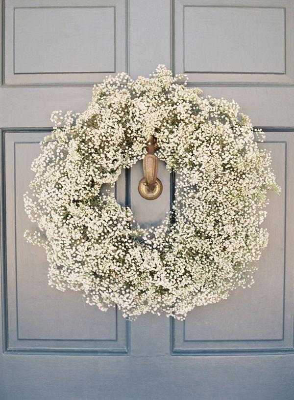 Baby's Breath wreath on the church door | Snippet & Ink