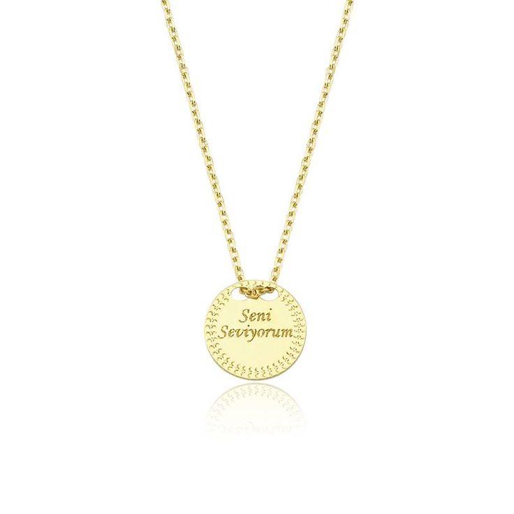 """Altın """"Seni Seviyorum"""" Kolye #altınbaşlife #kolye #altın #takı #tasarım #hediye #gift"""