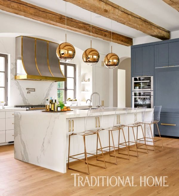 traditional home design. The final layer of pizzazz in this kitchen comes from a m lange brass  597 best Kitchens We Love images on Pinterest Cottage style