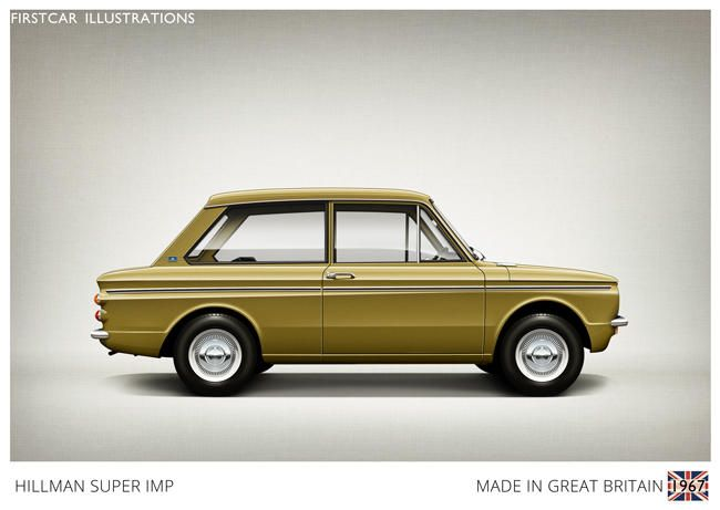 Firstcar Illustrations | Personalized Car Illustrations | Hillman Super Imp 1967 | ART CARS | Pinterest | Car illustration and Cars