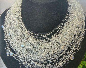 Pietra di luna bianco collana multifilare uncinetto sposa bradesmaid bianco casual ragnatela ariosa insolito regalo suo gioielli di nozze di pietra naturale