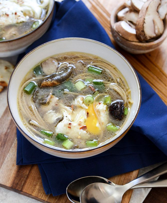 Chicken + Mushroom Noodle Soup with Poached Eggs I howsweeteats.com