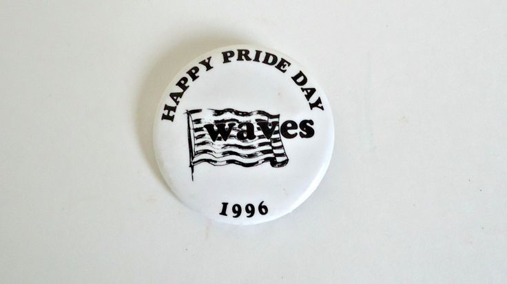 Pinback Button Happy Pride Day Waves  Button 1996 by TreasureCoveAlly on Etsy