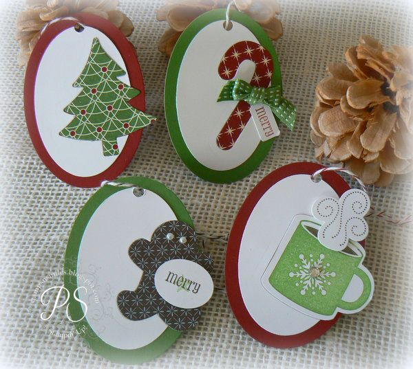 Christmas tags using Scentsational Seasons