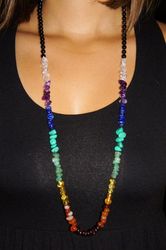Rainbow Chakra 33 long necklace with semi precious round stones, pebbles and baroque amber.