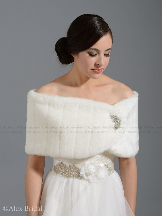 Ivory faux fur wrap bridal shrug stole shawl от alexbridal на Etsy