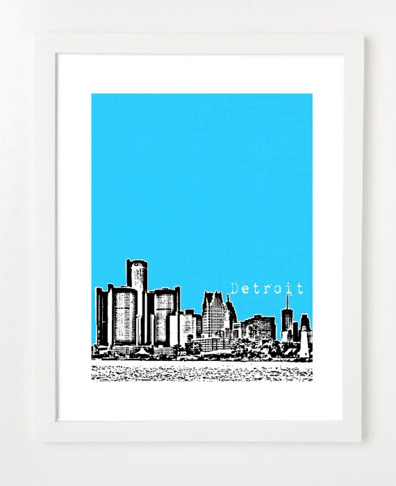 Detroit Skyline Poster City Series Art Print Affordable Wedding Gift