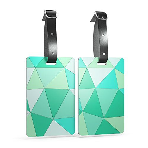 Shacke Luggage Tags with Genuine Leather Strap - Set of 2 (Geo Shapes Mint)