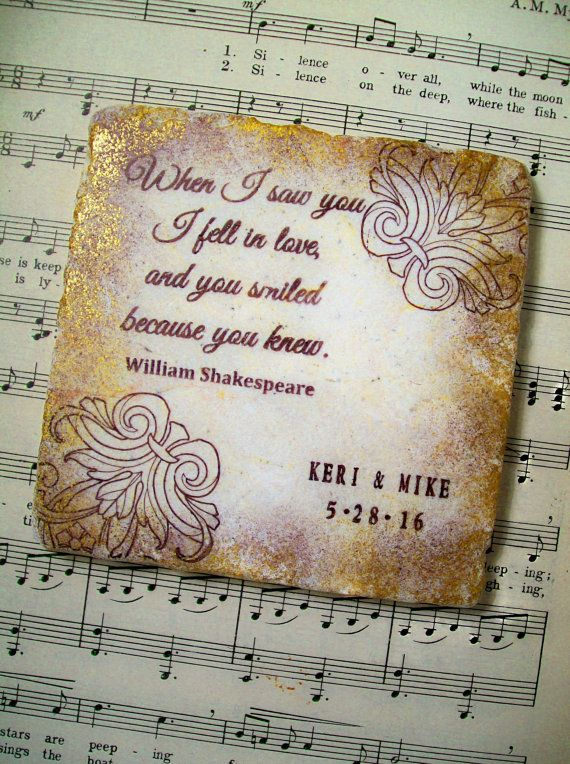 Shakespearean Wedding Coasters, When I Saw You, Romantic Set of 4 Personalized Wedding Coasters for Couples, Wedding Registry