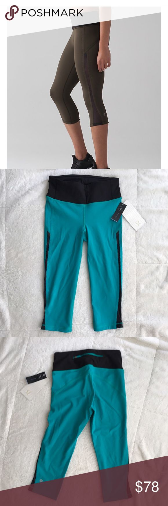 🌟JUSTADDED🌟Lululemon Smooth Stride Crop w/ Mesh! BRAND NEW Lululemon Smooth Stride Crop. Color: TURQUOISE GREEN + black (note: NOT olive like stock pic). MESH fabric paneling along the sides for ventilation. Cute back pocket with Lululemon emblem zipper pull! High rise fit. Offers accepted. lululemon athletica Pants Ankle & Cropped