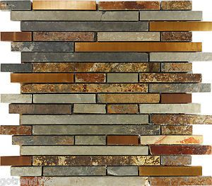 Details About 10sf Rustic Copper Linear Natural Slate Blend Mosaic Tile Kitchen Backsplash Spa
