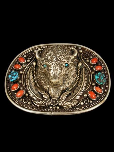 Old Indian Jewelry Sterling Silver Belt Buckle by Vintage Jewelry - PuebloDirect.com - 1