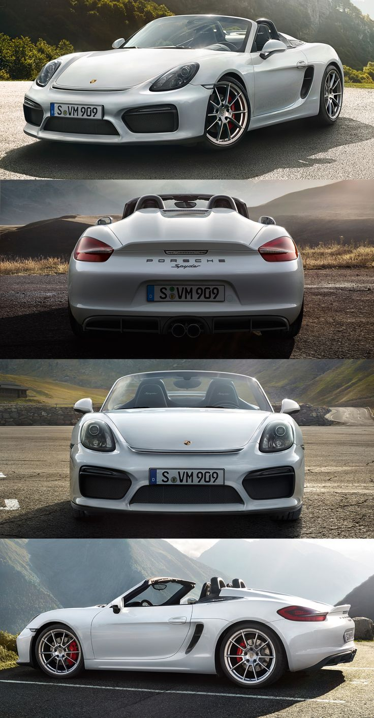 The new Boxster Spyder is a radical return to the origins of the Roadster: two seats, high performance, no room for any distractions.  *Combined fuel consumption in accordance with EU 6: 9.9 l/100km; CO2 emission: 230 g/km