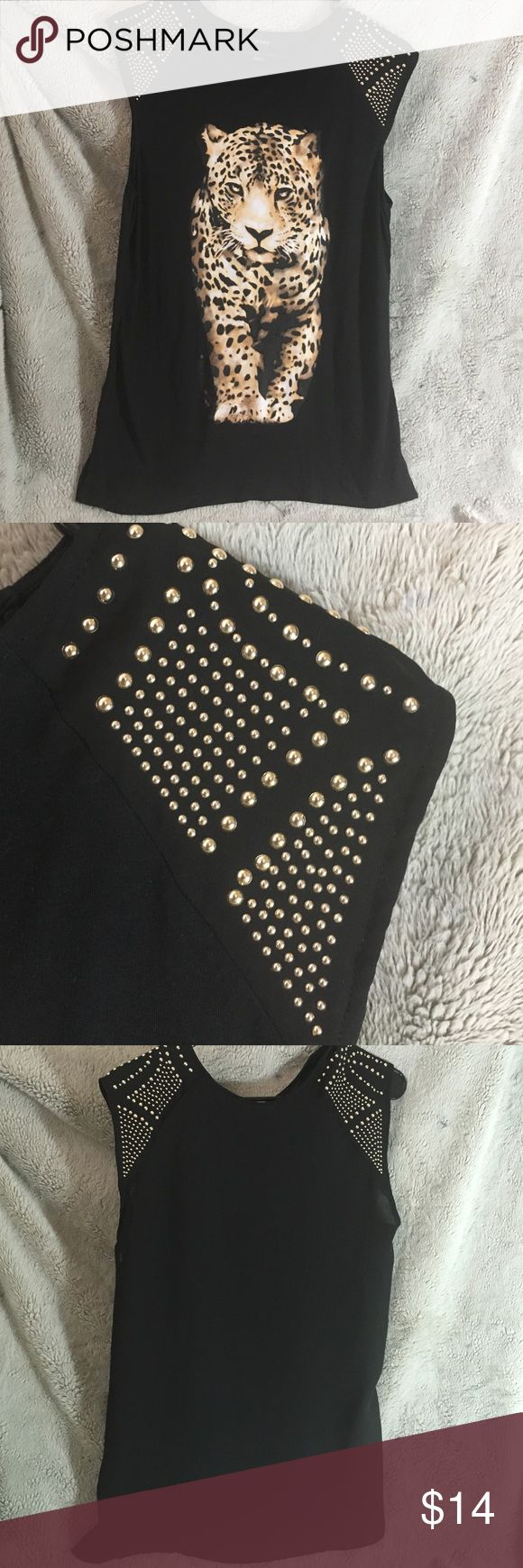 FOREVER 21 studded leopard top Cute black semi sheer top. Worn once Forever 21 Tops Blouses