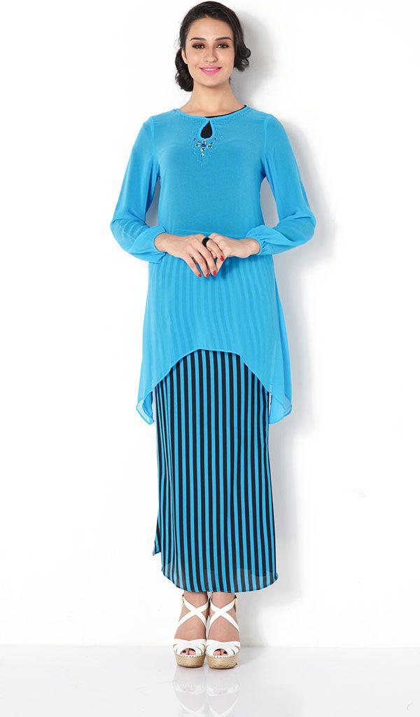 First Lady stripe print plain chiffon modern baju kurung