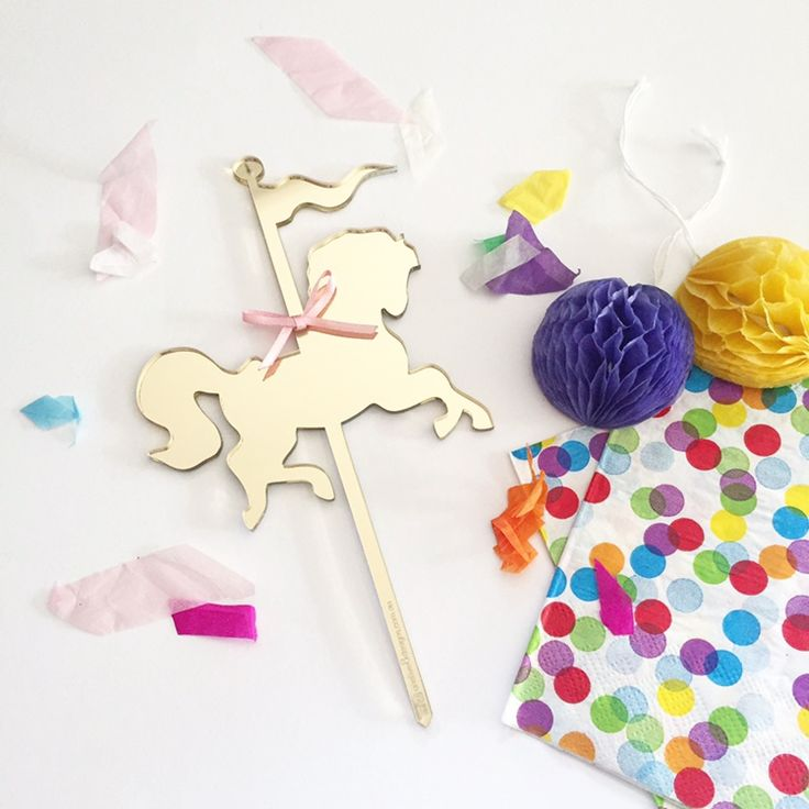 Carousel Horse Cake Topper in Gold Mirrored Acrylic
