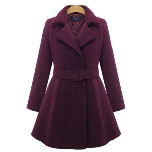 Zmart Women's Inner Qulited Plus Size Belted Flared Peacoat ($62) ❤ liked on Polyvore featuring outerwear, coats, pea jacket, plus size coats, belted coat, peacoat coat and belted peacoat