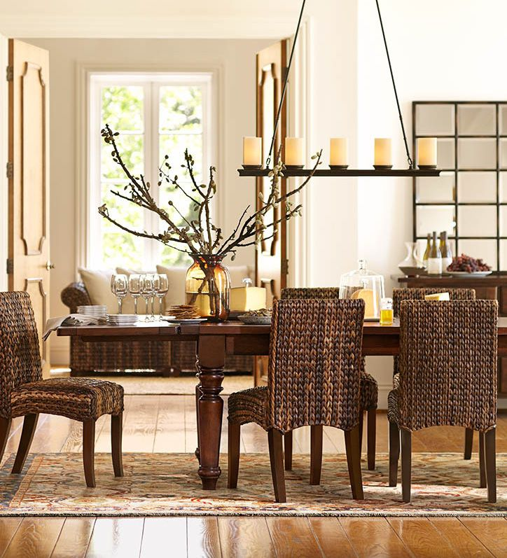 seagrass chairs are perfect for this dining room potterybarn linear chandelierkitchen chandelierroom decorating ideashome decor - Dining Room Table Centerpiece Decorating Ideas