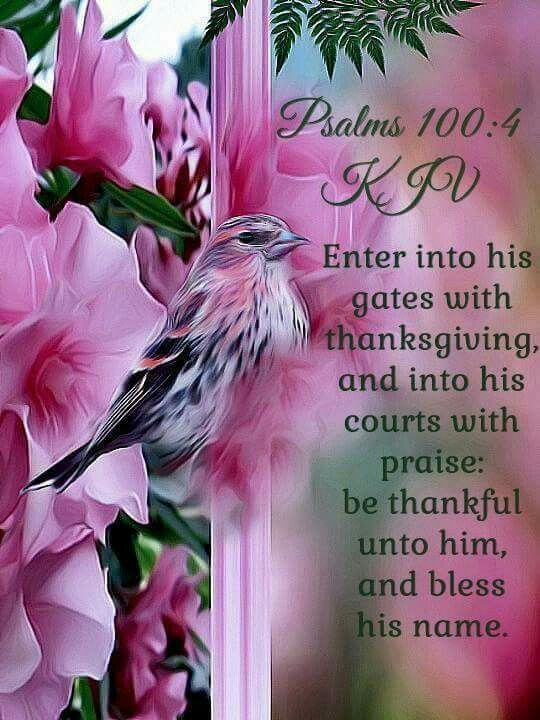 """Psalms 100:4 """"Enter his gates with thanksgiving and his courts with praise; give thanks to him and praise his name."""""""