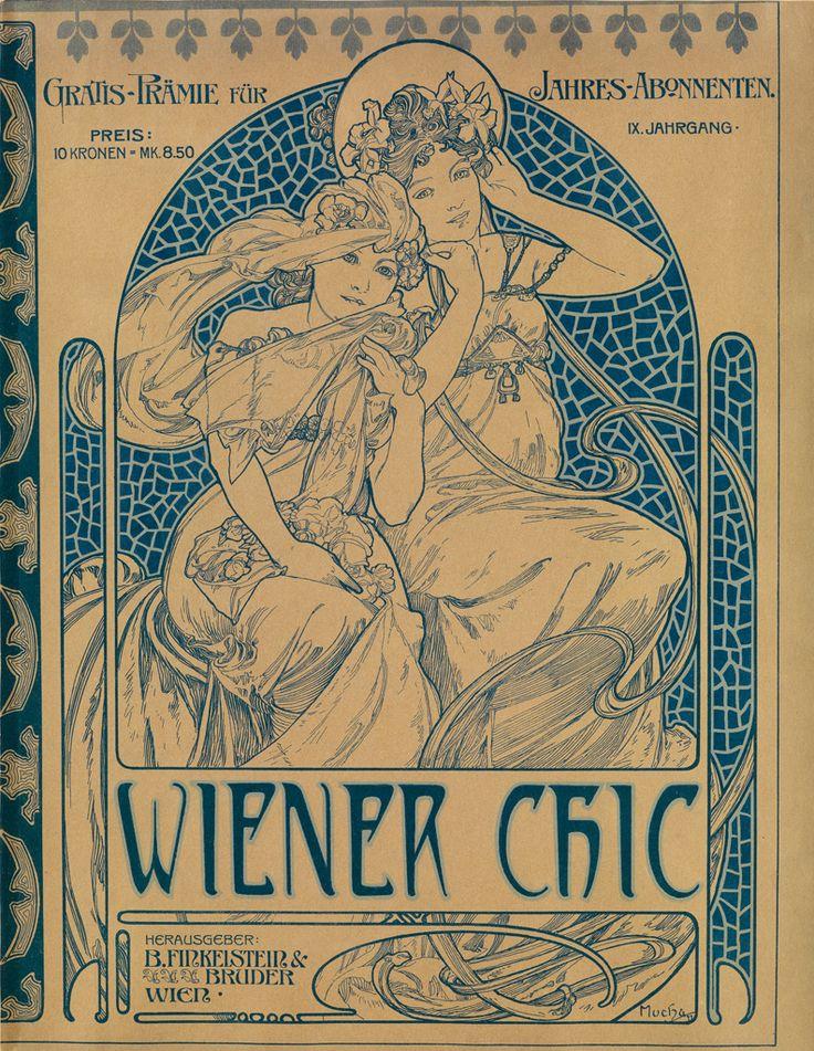 ALPHONSE MUCHA (1860-1939) WIENER CHIC. Magazine cover. 1899.