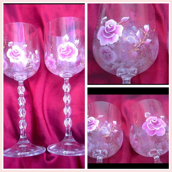 Hand painted wine glass hand painted goblet birthday by Aligri