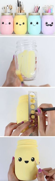 Pastel Mason Jar Storage | DIY Spring Room Decor Ideas for Teens | Awesome Decor Ideas for the Home on a Budget