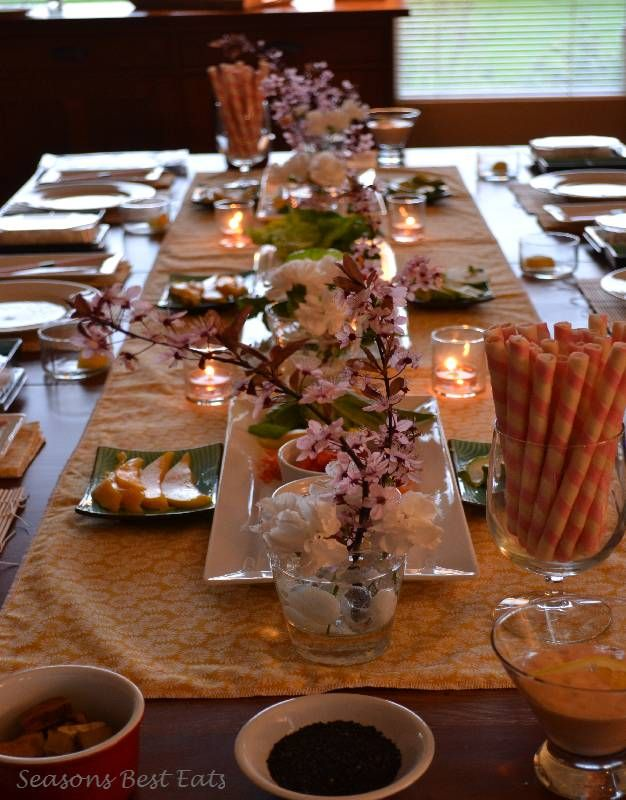 Amazing Sushi Dinner Party Ideas Part - 6: Runner With Sakura Centerpieces