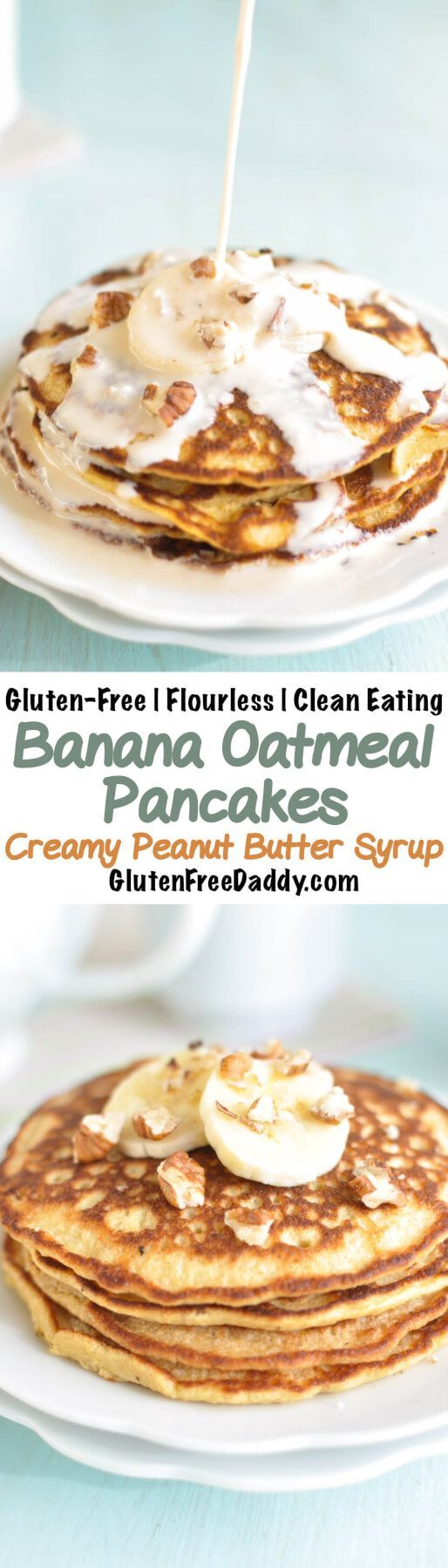 These nutritional banana oatmeal pancakes with creamy peanut butter syrup are delicious and will leave you satisfied all morning long without feeling sluggish or heavy. Plus, they only take 5 minutes to throw together in a blender! {Flourless, Gluten-Free, Clean Eating}