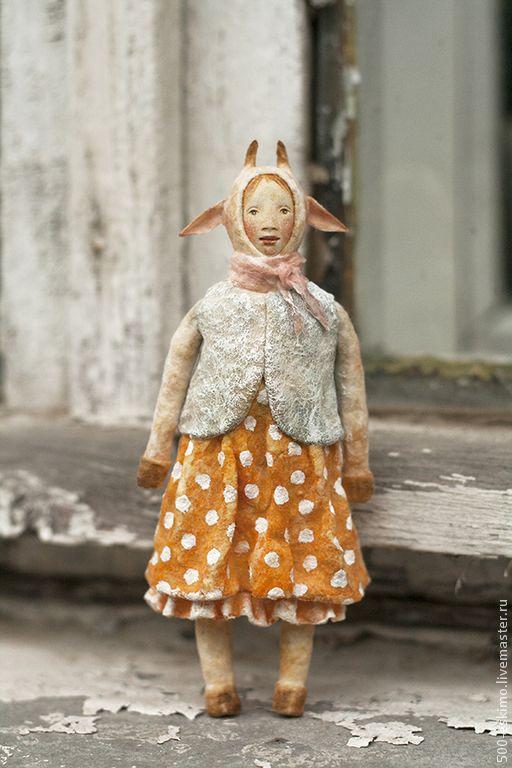 Купить Ватная игрушка на ёлку Коза - жёлтый, коза, ёлочные украшения, игрушка на ёлку
