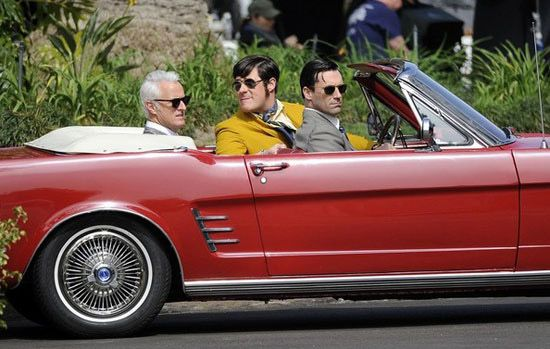 Don Draper and Roger Sterling on set with sideburns Mad Men season 6