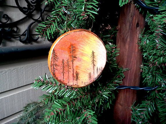Sunset Silhouette of fir and pine trees Christmas ornament handmade by JensDreamDesigns on etsy.com