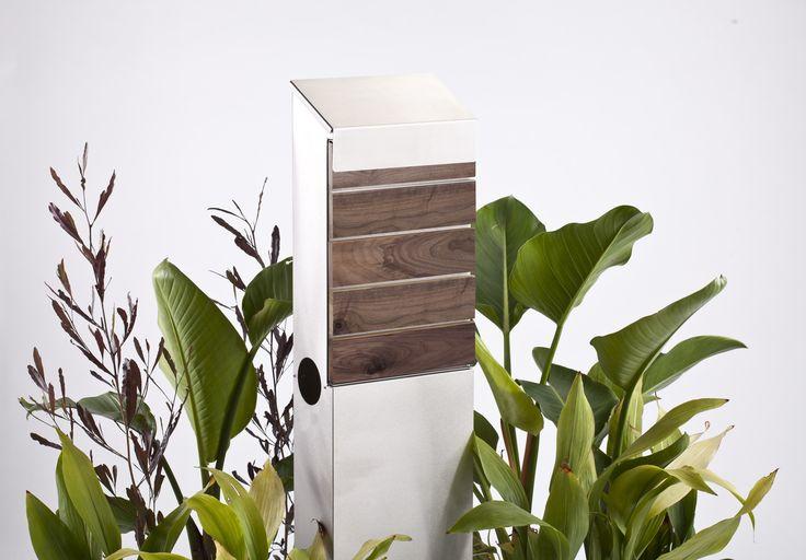 #Letterbox Pillar Buzon Hugo Ss W/teak Timber Buzfp04 #postbox #mailbox