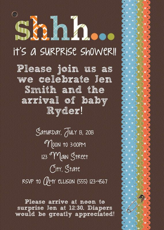 Printable Surprise Baby Boy Shower Invitation by