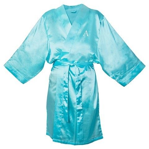 Monogram Bridesmaid Aqua Satin Robe