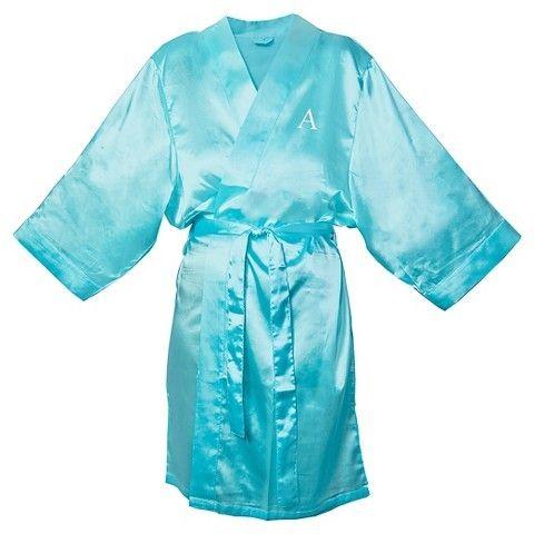 Monogram Bridesmaid Aqua Satin Robe