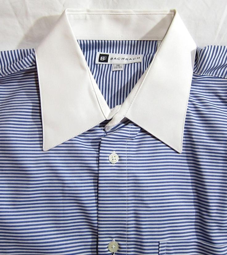 Bachrach Blue White Striped Cotton Mens Shirt White Collar and Cuff