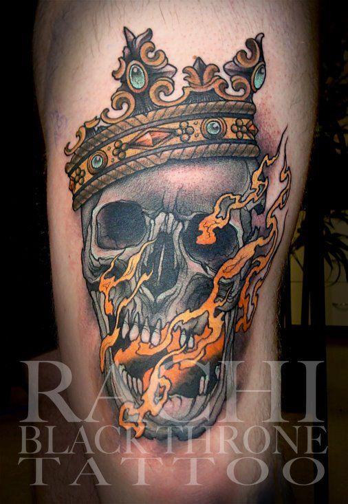 Rachi Brains tattoo skull neo traditional