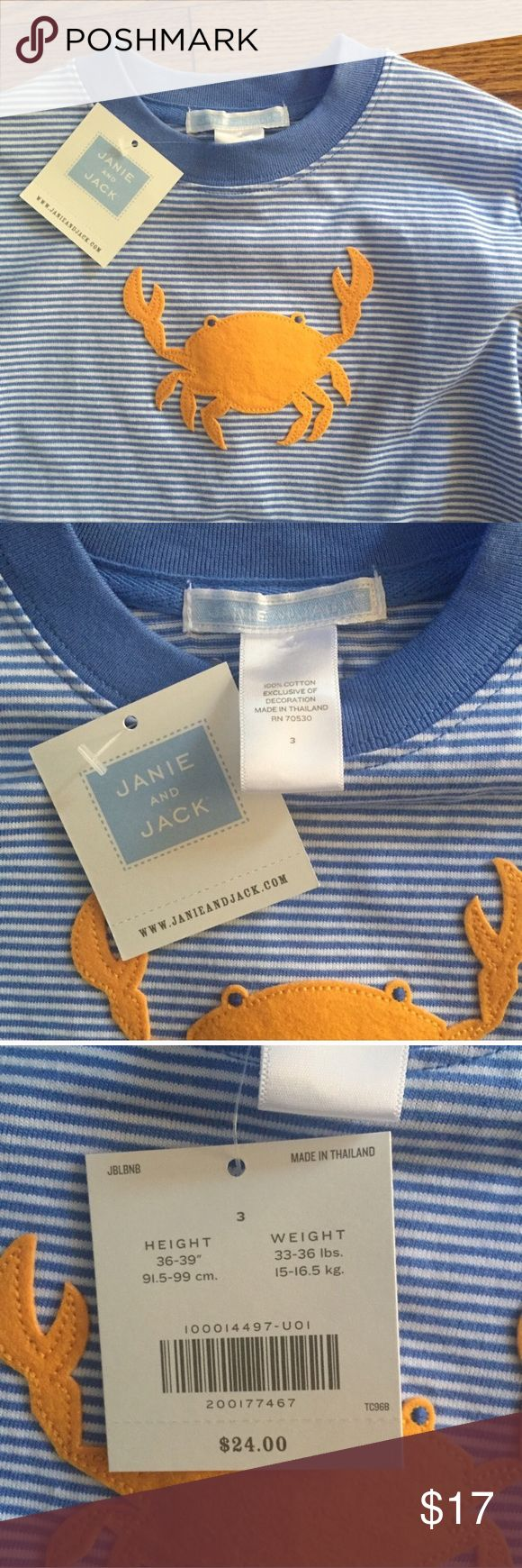 NWT Janie and Jack top...Size 3 NWT...adorable Janie and Jack long sleeve top...blue and white stripes with orange crab...Size 3...no rips, stains or snags...from a smoke free home! Janie and Jack Shirts & Tops Tees - Long Sleeve