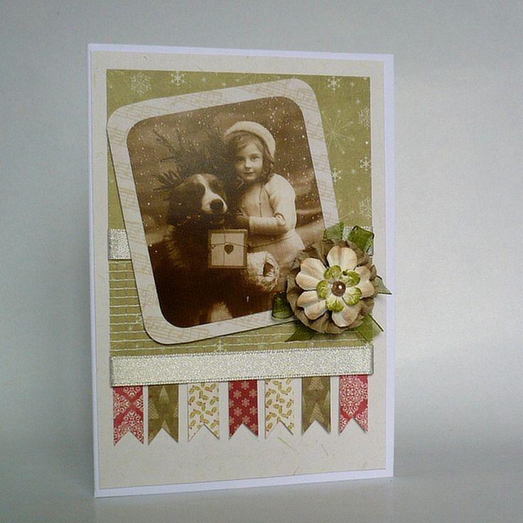 vintage card for Christmas - vintage, girl, dog, flower, Christmas