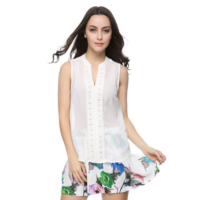 Mulheres white Lace chiffon blusa decote em V sem mangas doce Crochet Lace camisa casual Blusas Femininas europeia Roupa feminino ST1885