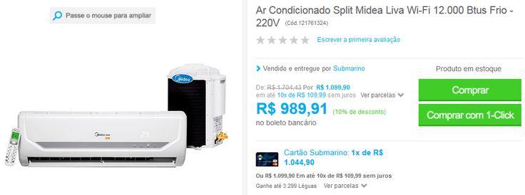 Ar Condicionado Split Midea Liva Wi-Fi 12.000 Btus Frio - 220V << R$ 89092 >>