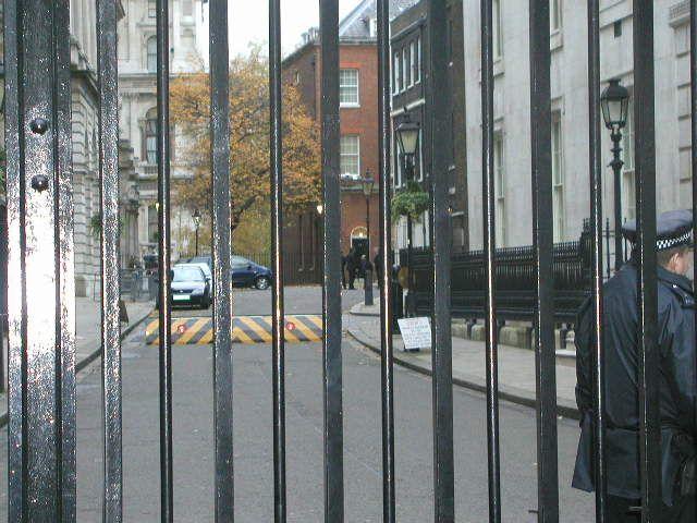 Downing Street through gates