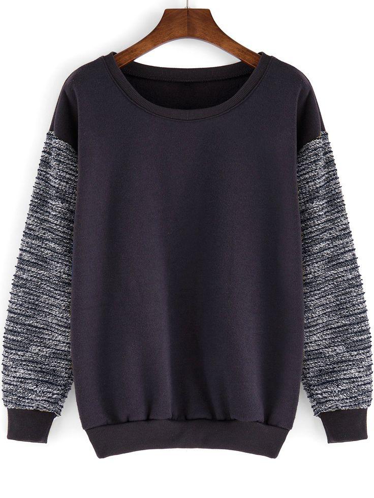 Round+Neck+Contrast+Sleeve+Loose+Grey+Sweatshirt+12.00