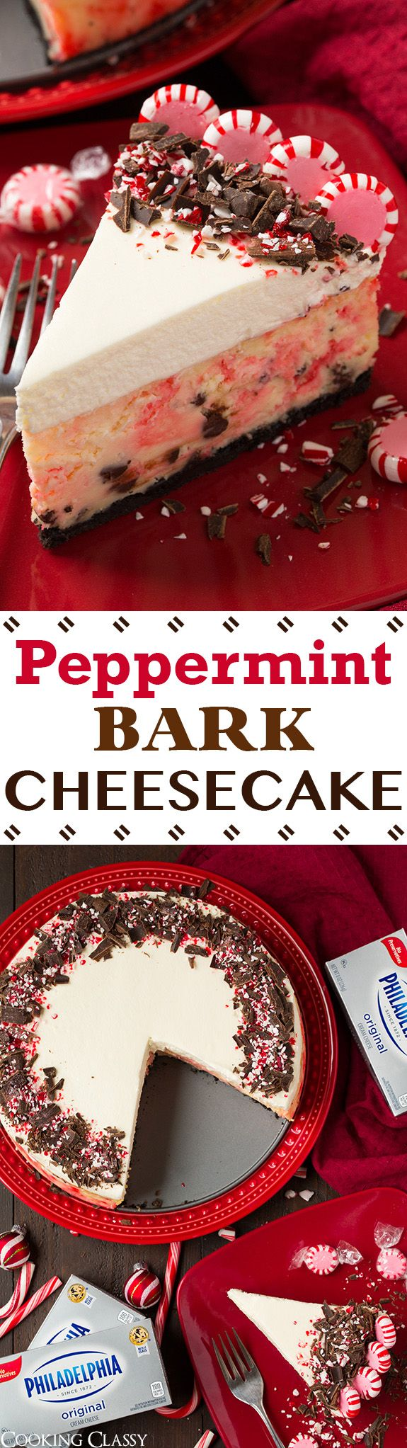 Peppermint Bark Cheesecake - ❤️ this is the PERFECT Christmas dessert! Everyone was swooning over this cheesecake! It is such a delicious combo of peppermint bark meets cheesecake. You'll want to make it every year!