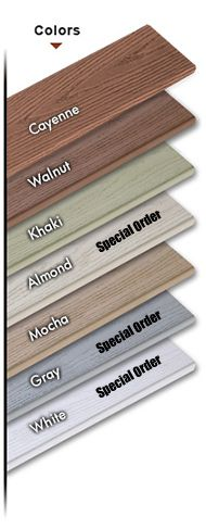 Veka PVC Decking - Quality Deck Materials. *Product Benefits Resists Fading looks beautiful season after season without all the costly maintenance. Insect Resistant 100% PVC Blend is impervious to insects. Splinter-Free PVC Compound will not splinter, flake or peel. Slip Resistant Surface Attractive embossed wood grain anti-skid surface is slip resistant when wet or dry. Visit Greatrailing.com