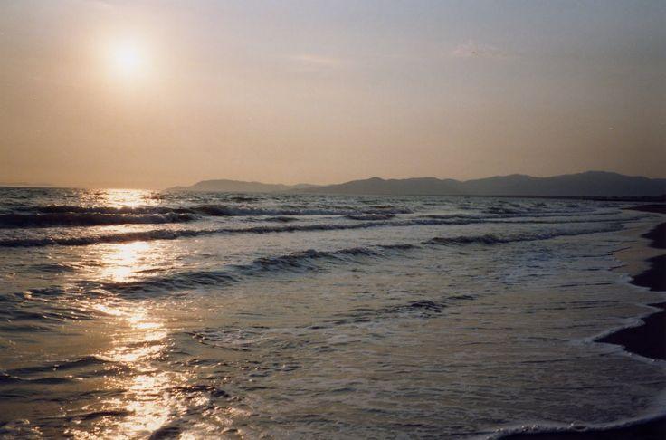 Tramonto sulla spiaggia di Principina a Mare.
