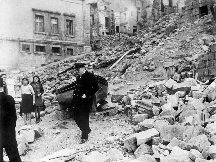 churchhill inspects air raid damage in valetta malta 1943