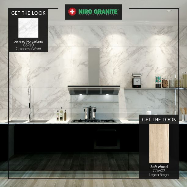 The interaction between different materials - marble and wood - takes your kitchen to the next level. Get this stunning look with Niro Granite's Belleza Porcelana - Calacatta White and Softwood. More about the product, visit www.nirogranite.co.id.