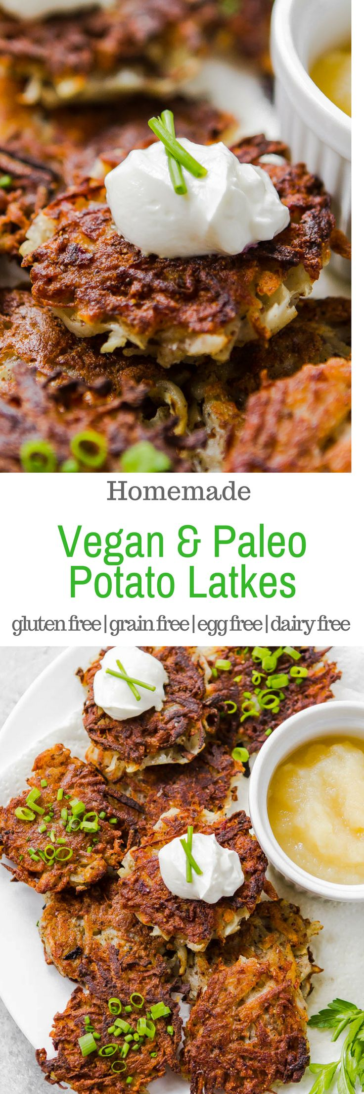 There are plenty of potato latke recipes out there for Hanukkah, but these are special because they contain NO gluten, grains, eggs, or dairy! #EggFree, #Glutenfree #grainfree #vegan #paleo #recipe #Hanukkah #Chanukah #recipe via @acleanbake