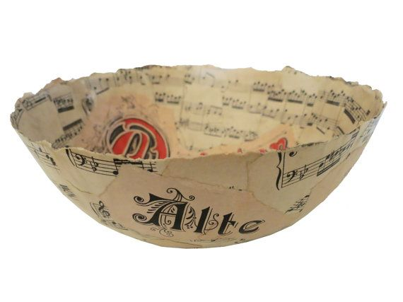 Music Sheet Paper Bowl by CeeBeeRecycle on Etsy